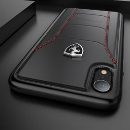 Ferrari ® Apple iPhone XR Official 488 GTB Logo Double Stitched Dual-Material Pure Leather Back Cover