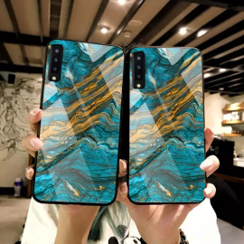 VAKU ® Samsung Galaxy A7 (2018) Quin Marble Series Ultra-Shine Luxurious Tempered Finish Silicone Frame Thin Back Cover
