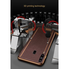 Vaku ® Samsung Galaxy M30 Vertical Leather Stitched Gold Electroplated Soft TPU Back Cover