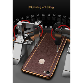 Vaku ® Vivo V7 Plus Vertical Leather Stitched Gold Electroplated Soft TPU Back Cover