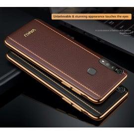 Vaku ®  Vivo Z1 Pro Vertical Leather Stitched Gold Electroplated Soft TPU Back Cover