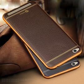 Vaku ® Xiaomi Redmi 5A Leather Stitched Gold Electroplated Soft TPU Back Cover