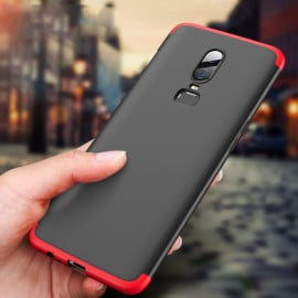 FCK ® OnePlus 6 5-in-1 360 Series PC Case Dual-Colour Finish Ultra-thin Slim Front Case + Back Cover + Tempered