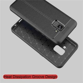 Vaku ® Samsung Galaxy A8 Plus Kowloon Double-Stitch Edition Silicone Leather Texture Finish Ultra-Thin Back Cover