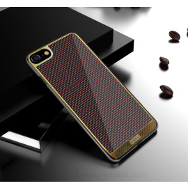 VAKU ® Apple iPhone 7 Colored Carbon Fibre with Golden Electroplated layering hard PC Back Cover