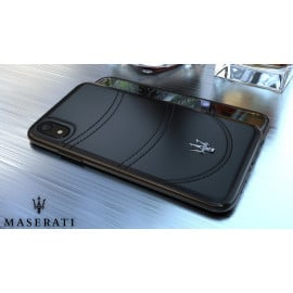Maserati ® Apple iPhone XR GranTurismo Double Stitched Dual-Material Pure Leather Back Cover