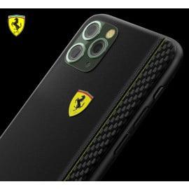 Ferrari ® Apple iPhone 11 Pro ON TRACK Racing Shield Rubber Soft Carbon Fiber Back Cover