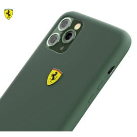 Ferrari ® For Apple iPhone 11 Pro Liquid Silicon Velvet-Touch Silk Finish Shock-Proof Back Cover