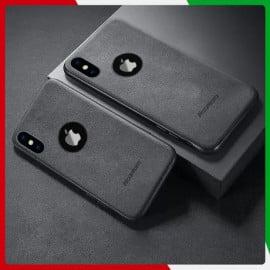 VAKU ® Apple iPhone X / XS Alcantara Super Suede Logo Cut Leather Cover