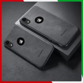 VAKU ® Apple iPhone XR Alcantara Super Suede Logo Cut Leather Cover
