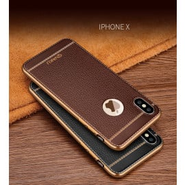 Vaku ® For Apple iPhone XS Max Leather Stitched Gold Electroplated Soft TPU Back Cover