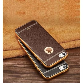 VAKU ® Apple iPhone 5S / SE / 5 Leather Stiched Gold Electroplated Soft TPU Back Cover