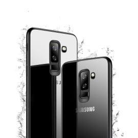 Vaku ® Samsung Galaxy J8 Club Series Ultra-Shine Luxurious Tempered Finish Silicone Frame Thin Back Cover