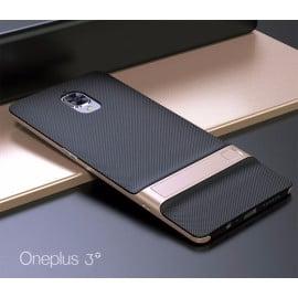 Vaku ® OnePlus 3 / 3T Royle Case Ultra-thin Dual Metal + inbuilt Stand Soft / Silicon Case