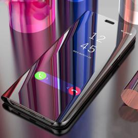Vaku ® Samsung Galaxy A51 Mate Smart Awakening Mirror Folio Metal Electroplated PC Flip Cover