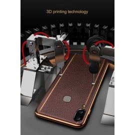 VAKU ® Vivo V9 Vertical Leather Stitched Gold Electroplated Soft TPU Back Cover