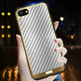 VAKU ® Apple iPhone SE 2020 Carbon Fibre with Golden Electroplated layering Hard PC Back Cover