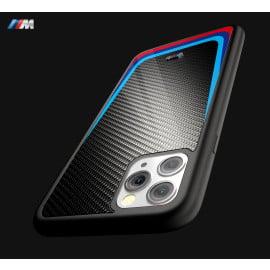 BMW Motorsports ® Apple iPhone 11 Pro Max M8 Competition Tri- Colour Carbon Fiber Hard Case TPU Back Cover