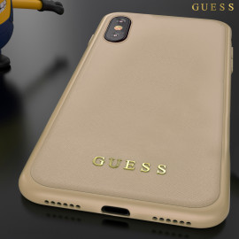 GUESS ® Apple iPhone X / XS Mandarian Paris Series Pure Leather 2K Gold Electroplated Back Case