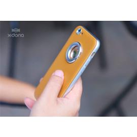 X-Doria ® Apple iPhone 6 / 6S Multi-Angle Inbuilt Metal Ring Kickstand Aluminium + Leather Back Cover