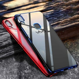 Vaku ® Vivo V9 CAUSEWAY Series Electroplated Shine Bumper Finish Full-View Display + Ultra-thin Transparent Back Cover