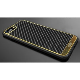 VAKU ® Apple iPhone 7 Plus / 8 Plus Carbon Fibre with Golden Electroplated layering hard PC Back Cover-Black