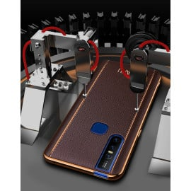 Vaku ® Vivo V15 Vertical Leather Stitched Gold Electroplated Soft TPU Back Cover