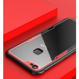 Vaku ® Vivo V7 GLASSINO Luxurious Edition Ultra-Shine Silicone Frame Ultra-Thin Case Transparent Back Cover