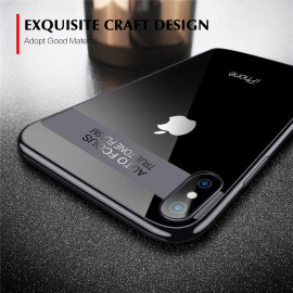 Henks ® Apple iPhone X Kowloon Chrome Electroplated Series Metallic Finish + Ultra-Thin Transparent Back Cover