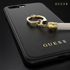 GUESS ® Apple iPhone 8 plus Premium Luther Leather 2K Gold Electroplated + inbuilt ring stand + detachable Tassels Back Case
