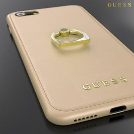 GUESS ® Apple iPhone 8 Prama Paris Series Pure Leather 2K Gold Electroplated + inbuilt ring stand Back Case