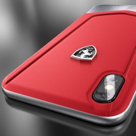 Ferrari ® Apple iPhone X Moranello Series Luxurious Leather + Metal Case Limited Edition Back Cover