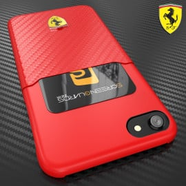 Ferrari ® Apple iPhone 7 SP America series Carbon fibre finish - inbuilt Credit card holder back cover