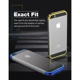 Vaku ® Apple iPhone 5 / 5S / SE CAUSEWAY Series Top Quality Soft Silicone 4 Frames + Ultra-thin Transparent Cover