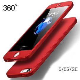 i-Paky ® Apple iPhone 5 / 5S / SE 360 Full Protection Metallic Finish 3-in-1 Ultra-thin Slim Front Case + Tempered + Back Cover