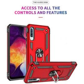 Vaku ® Samsung Galaxy A50S Armor Ring Shock Proof Cover with Inbuilt Kickstand