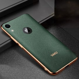 Vaku ® For Apple iPhone XR Cross Grain Leather Gold Electroplated Soft TPU Back Cover