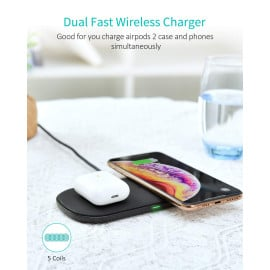 CHOETECH Dual Wireless Charger, 5 Coils Double Qi Fast Wireless Charging Pad Compatible with iPhone X/XS/XS Max/XR/8/8 Plus, Samsung Galaxy S10/S10+/S9/S9 Plus/S8/S8 Plus, Note 9/Note 10 (QC 3.0 Adapter Included)