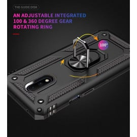 Vaku ® OnePlus 7 Armor Ring Shock Proof Cover with Inbuilt Kickstand