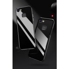 Vaku ® Vivo V7 Plus GLASSINO Luxurious Edition Ultra-Shine Silicone Frame Ultra-Thin Case Transparent Back Cover