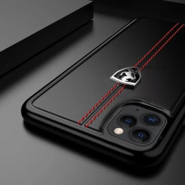 Ferrari ® Apple iPhone 11 Pro Max Vertical Contrasted Stripe - Material Heritage leather Hard Case Back Cover