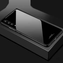 Vaku ® Samsung Galaxy A7 (2018) Plus Club Series Ultra-Shine Luxurious Tempered Finish Silicone Frame Thin Back Cover