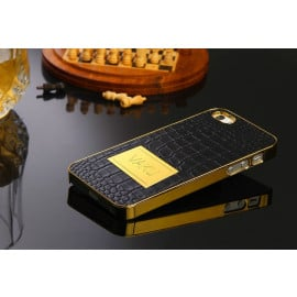 Vaku ® Apple iPhone 5 / 5S / SE Premium Crocodile Leather Gold Electroplated Back Cover