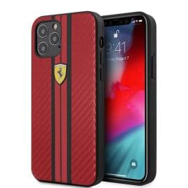 Scuderia Ferrari ® Apple iPhone 12 / 12 Pro / 12 Pro Max Portofino Carbon Vertical Stripe Case Backcover