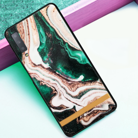 VAKU ® Samsung Galaxy A7 (2018) Marble River Series Ultra-Shine Luxurious Tempered Finish Silicone Frame Thin Back Cover