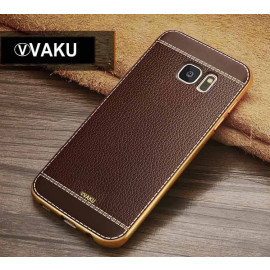 VAKU ® Samsung Galaxy S6 Edge Plus Leather Stitched Gold Electroplated Soft TPU Back Cover