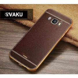 VAKU ® Samsung Galaxy ON 7 Leather Stiched Gold Electroplated Soft TPU Back Cover