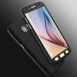 Vaku ® Samsung Galaxy J7 Prime / J7 Prime 2 360 Full Protection Metallic Finish 3-in-1 Ultra-thin Slim Front Case + Tempered + Back Cover