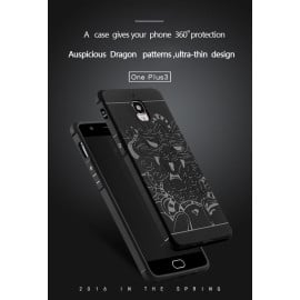 VAKU ® OnePlus 3 / 3T 3D Auspicious Dragon Crash-Proof Ultra Dragon Series Three-Layer Protective Hard Silicon Cover with Impact Absorbing Rubber Rim & Clear Back Panel