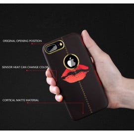 Vaku ® Apple iPhone 7 plus Lexza Volcano Fire Series Hot-Color Changing Double-Stitch Infinite Thermal Sensing Technology Back Cover